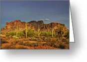The Supes Greeting Cards - The Desert Aglow Greeting Card by Saija  Lehtonen