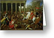 Soldiers Painting Greeting Cards - The Destruction of the Temples in Jerusalem by Titus Greeting Card by Nicolas Poussin