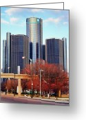 Renaissance Center Greeting Cards - The Detroit Renaissance Center Greeting Card by Gordon Dean II