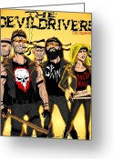 Comicbook Greeting Cards - The Devildrivers Gang Greeting Card by Luke Kegley