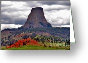 Sacred Greeting Cards - The Devils Tower WY Greeting Card by Susanne Van Hulst