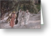 Peter French Greeting Cards - The Disciples on the Road to Emmaus Greeting Card by Tissot