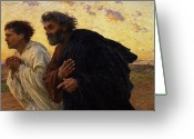 Oil Canvas Greeting Cards - The Disciples Peter and John Running to the Sepulchre on the Morning of the Resurrection Greeting Card by Eugene Burnand
