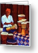 Maryann Stafford Greeting Cards - The Djembe Man Greeting Card by MaryAnn Stafford