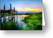 Florida Bridges Greeting Cards - The Dock Greeting Card by Debra and Dave Vanderlaan