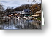 Boathouse Row Greeting Cards - The Docks at Boathouse Row - Philadelphia Greeting Card by Bill Cannon