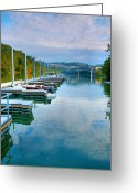 Monongahela River Greeting Cards - The Docks At Morgantown Greeting Card by Steven Ainsworth