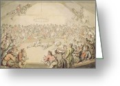 Fighters Painting Greeting Cards - The Dog Fight Greeting Card by Thomas Rowlandson