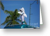 Miami Dolphins Greeting Cards - The Dolphins Mascot. Calle Ocho Parade Greeting Card by Maite Toledo