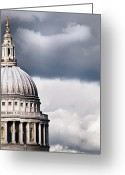 Storm Cloud Greeting Cards - The Dome Of St Pauls Cathedral Against Stormy Sky Greeting Card by Sarah Franklin www.eyeshoot.co.uk