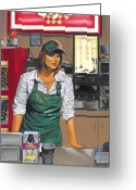 Urban Pastels Greeting Cards - The Donut Shop Greeting Card by Glenn Bernabe