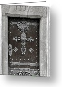 Entrance Door Greeting Cards - THE DOOR - Ceske Budejovice Greeting Card by Christine Till