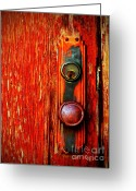 Peeling Paint Greeting Cards - The Door Handle  Greeting Card by Tara Turner