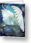 Religious Artwork Painting Greeting Cards - The Dove Greeting Card by Larry Cole