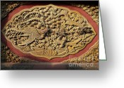 Forbidden City Greeting Cards - The Dragon and a Phoenix Greeting Card by Xueling Zou