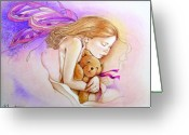 Purples Mixed Media Greeting Cards - The Dream Greeting Card by Denise Armstrong