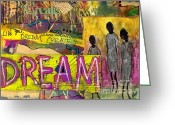 Survivor Mixed Media Greeting Cards - The Dream Trio Greeting Card by Angela L Walker