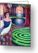 Mystical Drawings Greeting Cards - The Dreamer Greeting Card by Debra A Hitchcock