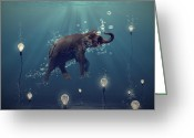 Blue Greeting Cards - The dreamer Greeting Card by Martine Roch