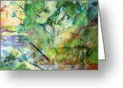 Mystical Drawings Greeting Cards - The Dryad and the Storyteller Greeting Card by Meg Zivahl-Fox