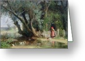 Feeding Painting Greeting Cards - The Duck Pond Greeting Card by Eduard Heinel