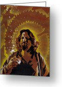Cult Film Painting Greeting Cards - The Dude Greeting Card by Iosua Tai Taeoalii