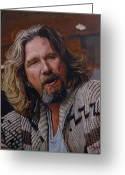 John Goodman Greeting Cards - The Dude Jeff Bridges Greeting Card by Thomas Hoyle