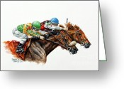 Jockeys Greeting Cards - The Duel Greeting Card by Thomas Allen Pauly
