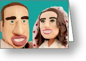 London Sculpture Greeting Cards - The Duke and Duchess of Cambridge Greeting Card by Louisa Houchen