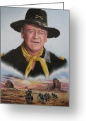 Cowboy Pencil Drawing Greeting Cards - The Duke U.S.Calvery Greeting Card by Andrew Read