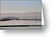 Interstate Greeting Cards - The Dumbarton Bridge in The Bay Area Viewed Through Coyote Hills California . 7D10961 Greeting Card by Wingsdomain Art and Photography