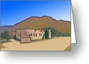 Dusty Road Greeting Cards - The Dusty Road to Taos Pueblo Greeting Card by Charles Ragsdale