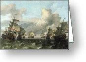 Spice Painting Greeting Cards - The Dutch Fleet of the India Company Greeting Card by Ludolf Backhuysen