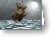 Sailboat Picture Greeting Cards - The Eagle Greeting Card by Corey Ford