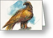 Eagle Drawings Greeting Cards - The Eagle Drawing Greeting Card by Angel  Tarantella
