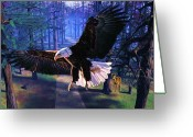 Tail Feather Greeting Cards - The Eagle is Landing Greeting Card by Garry Staranchuk