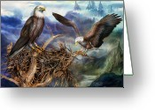 Scene Mixed Media Greeting Cards - The Eagles Nest Greeting Card by Carol Cavalaris