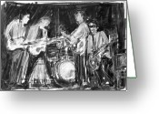 Live Music Greeting Cards - The Early Beatles Greeting Card by Russell Pierce