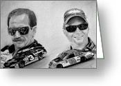 Pencil Drawing Greeting Cards - The Earnhardts Greeting Card by Bobby Shaw