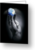 Our Planet Greeting Cards - The Earth Held By A Human Hand Greeting Card by Detlev Van Ravenswaay