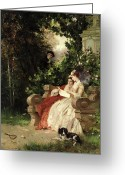 Peeping Greeting Cards - The Eavesdropper Greeting Card by Carl Heinrich Hoff