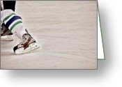 Hockey Action Greeting Cards - The Edge Greeting Card by Karol  Livote