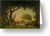 Evening Light Greeting Cards - The Edge of the Forest at Fontainebleau Greeting Card by Theodore Rousseau