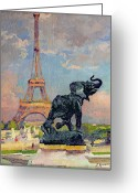 Gardens Greeting Cards - The Eiffel Tower and the Elephant by Fremiet Greeting Card by Jules Ernest Renoux
