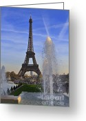 Jardins Greeting Cards - The Eiffel Tower from the Jardins de Trocadero Greeting Card by Louise Heusinkveld