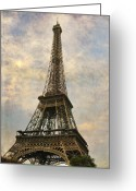 Iconic Architecture Greeting Cards - The Eiffel Tower Greeting Card by Laurie Search