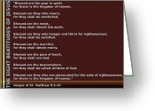 Bible Greeting Cards - The Eight Beatitudes Of Jesus Greeting Card by Ricky Jarnagin
