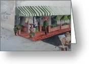 Cuban Painter Greeting Cards - The El Camino Grill Greeting Card by Charme Curtin