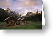 Log Cabins Photo Greeting Cards - The Elizabeth Parker Hut, A Log Cabin Greeting Card by Michael Melford