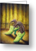 Surrealistic Painting Greeting Cards - The Emerald Ships Greeting Card by Lolita Bronzini
